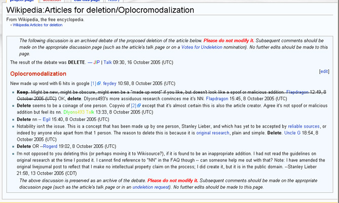 wikipedia discussion about oplocromodalization article